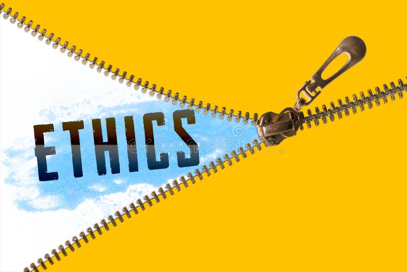 Palabra de los éticas debajo de la cremallera stock de ilustración
