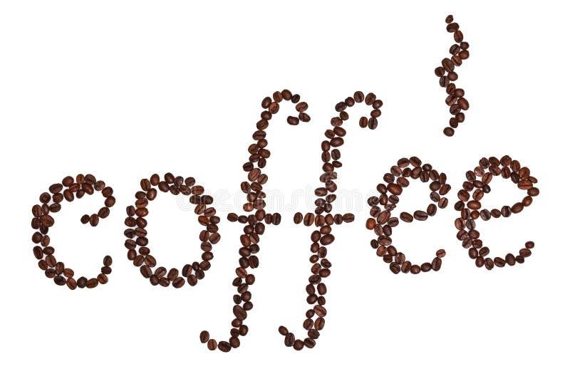Palabra de los granos de café imágenes de archivo libres de regalías