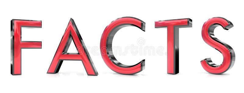 Palabra de los hechos 3d stock de ilustración