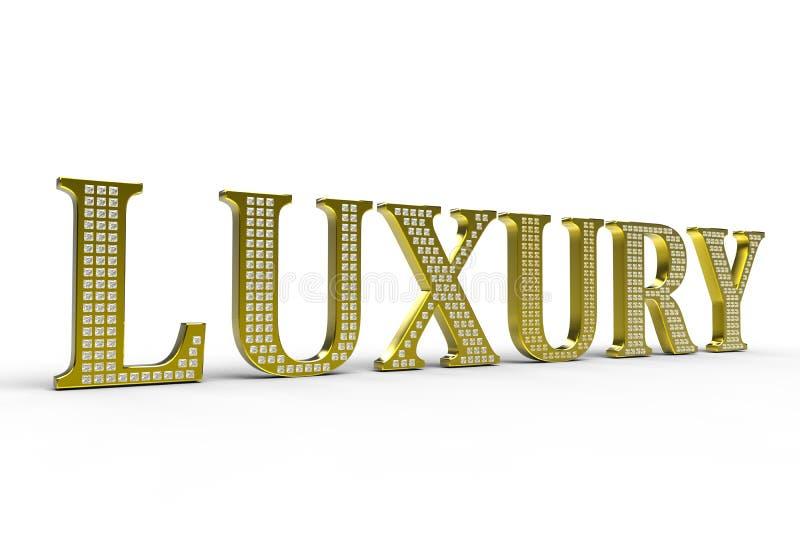 Palabra de lujo de oro con los diamantes libre illustration