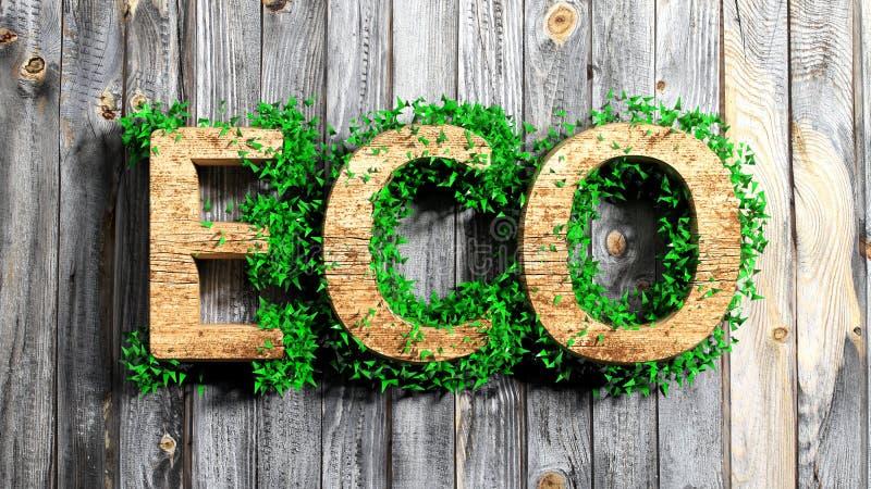 Palabra de madera de Eco con la vegetación libre illustration