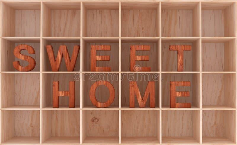 palabra de madera decorativa 3D en el estante - hogar dulce libre illustration