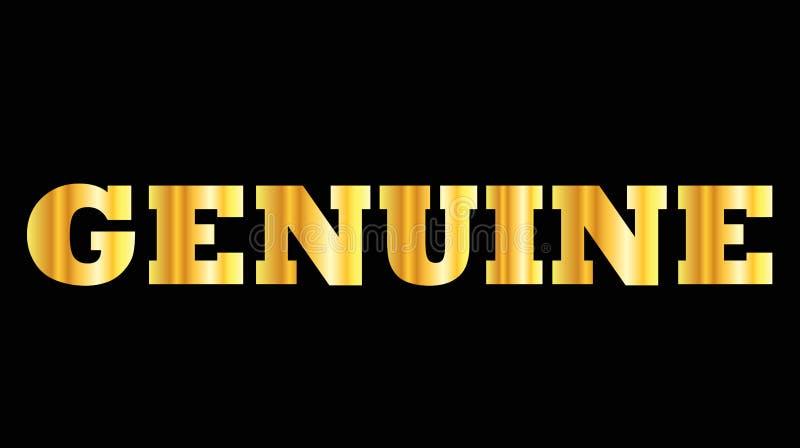 Palabra de oro brillante de la mayúscula auténtica stock de ilustración