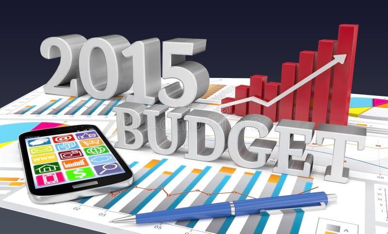 palabra de 2015 presupuestos con el gráfico ilustración del vector