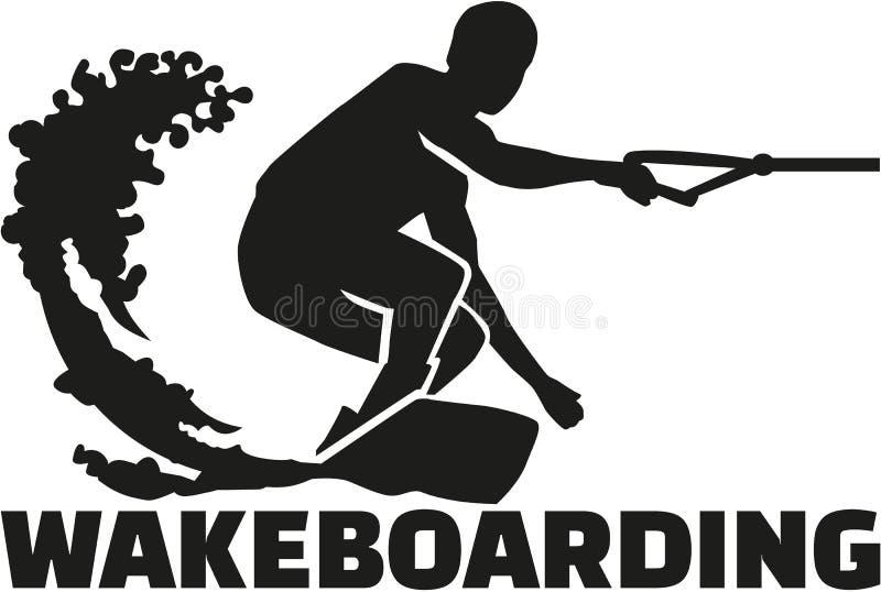 Palabra de Wakeboarding con el huésped ilustración del vector