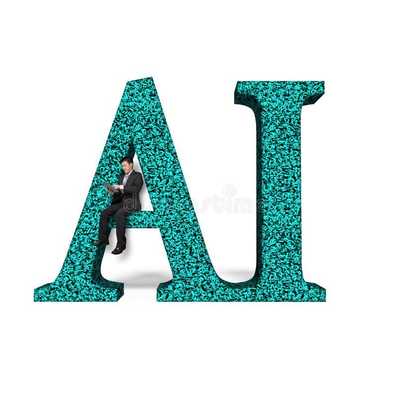 Palabra del AI de la enorme cantidad de los números de las letras con la sentada del hombre de negocios