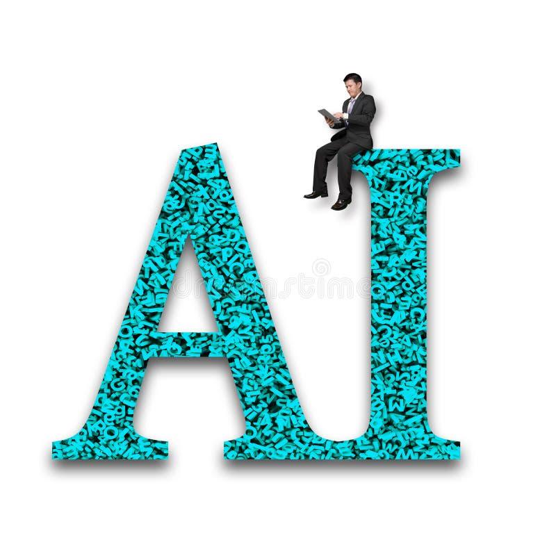 Palabra del AI de la enorme cantidad de los n?meros de las letras con la sentada del hombre de negocios foto de archivo libre de regalías