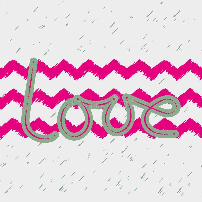 Palabra del amor dibujada a mano Diseño de moda del lema y zigzag rosado brillante Para imprimir en las camisetas para las muchac libre illustration