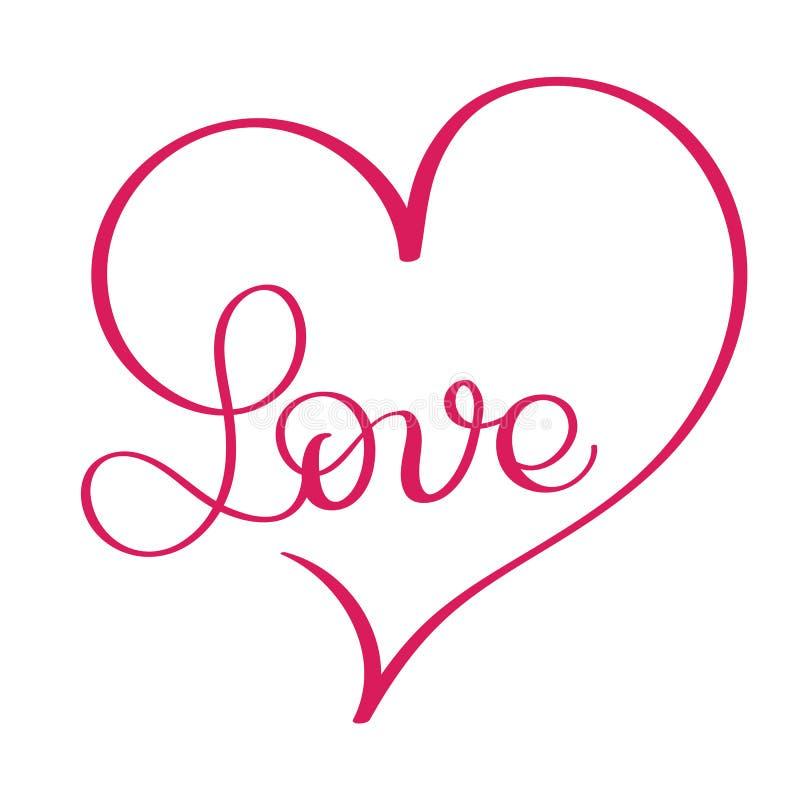 Palabra del amor en corazón rojo Caligrafía del vector y EPS10 de la letra ilustración del vector