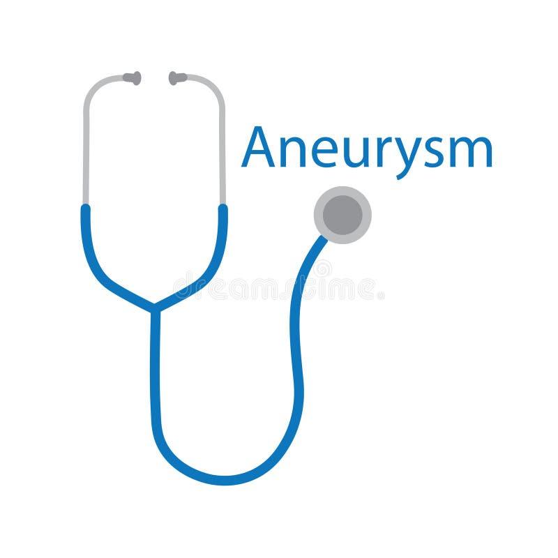 Palabra del Aneurysm e icono del estetoscopio ilustración del vector