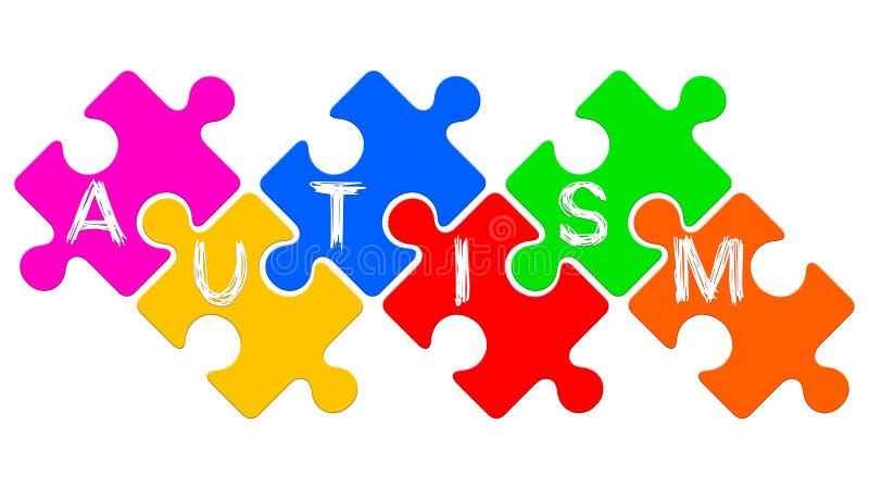 Palabra del autismo escrita en rompecabezas Concepto del desorden del espectro del autismo stock de ilustración