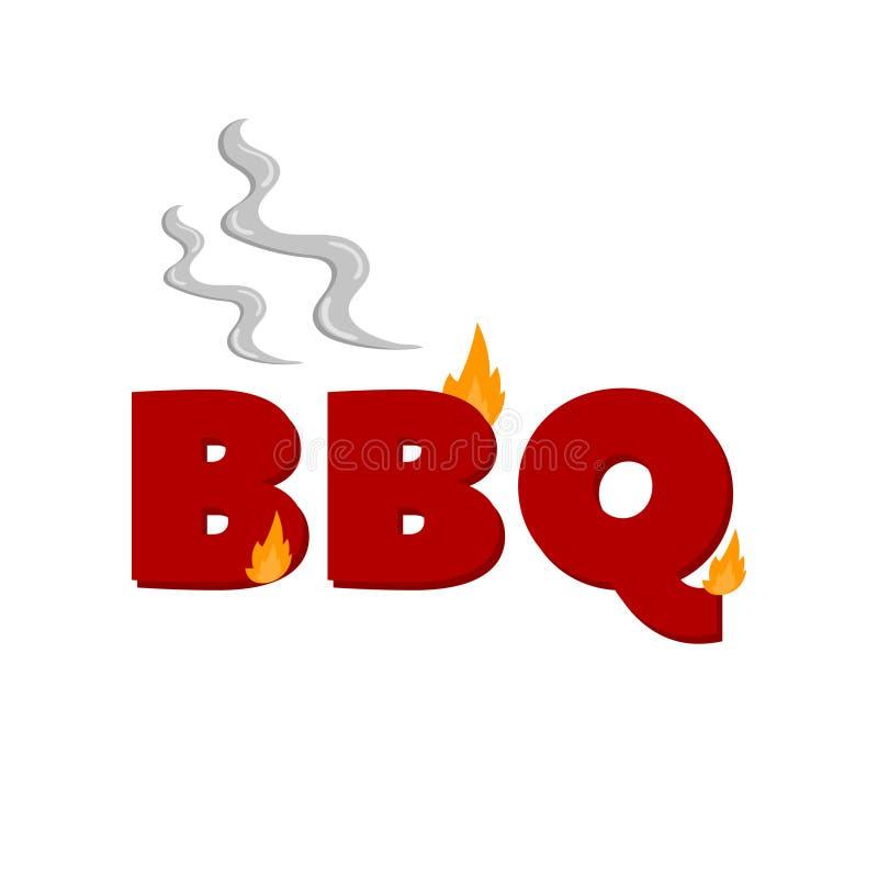 Palabra del Bbq el flamear, ejemplo del vector de la historieta del elemento del diseño del partido de la barbacoa ilustración del vector