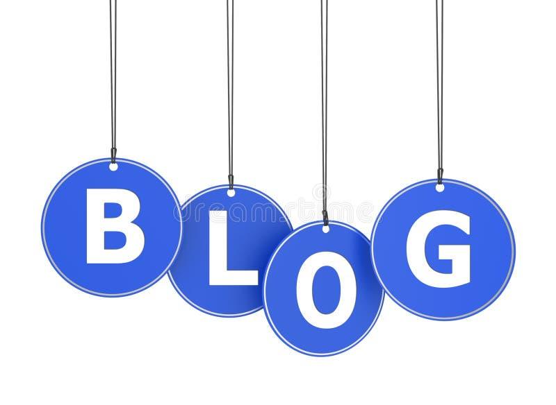 Palabra del blog en etiquetas colgadas ilustración del vector