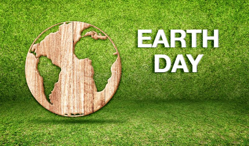 Palabra del Día de la Tierra con el icono de madera del globo del mundo en el sitio de hierba verde, EC ilustración del vector