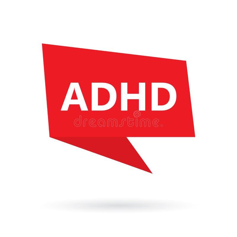Palabra del desorden de la hiperactividad del déficit de atención de ADHD en burbuja del discurso ilustración del vector