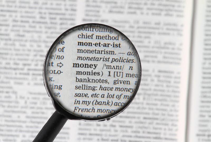 Palabra del dinero en diccionario imágenes de archivo libres de regalías