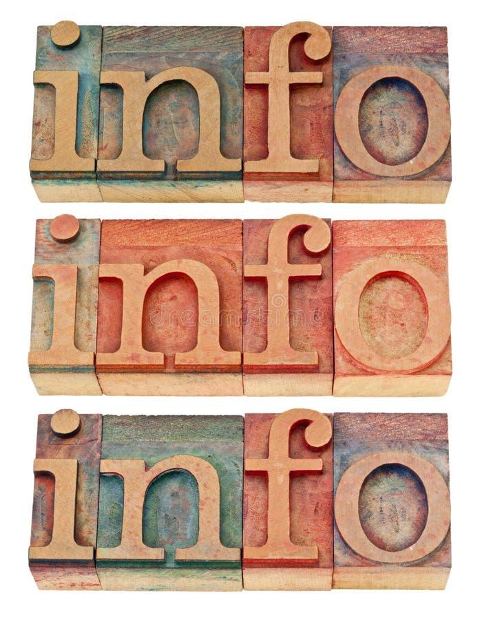 Palabra del Info en el tipo de madera fotos de archivo libres de regalías