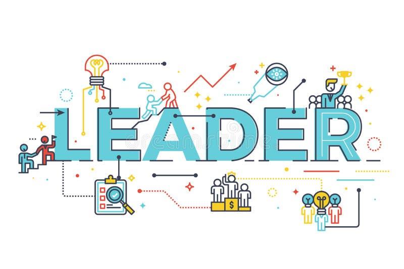 Palabra del líder en concepto de la dirección del negocio stock de ilustración