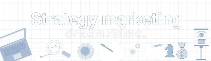 Palabra del márketing de la estrategia en concepto horizontal ajustado de la planificación de empresas de la bandera del fondo libre illustration