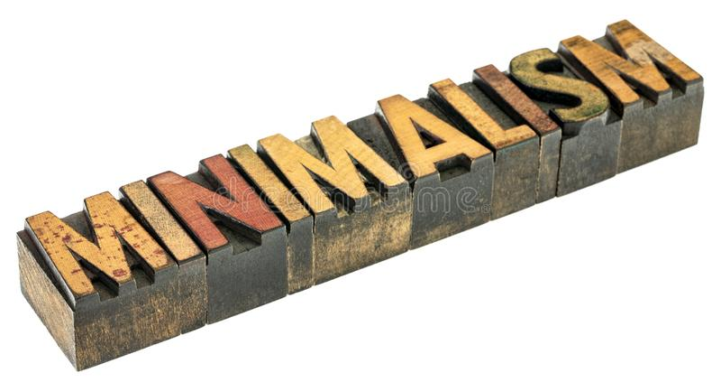 Palabra del minimalismo en el tipo de madera imagenes de archivo