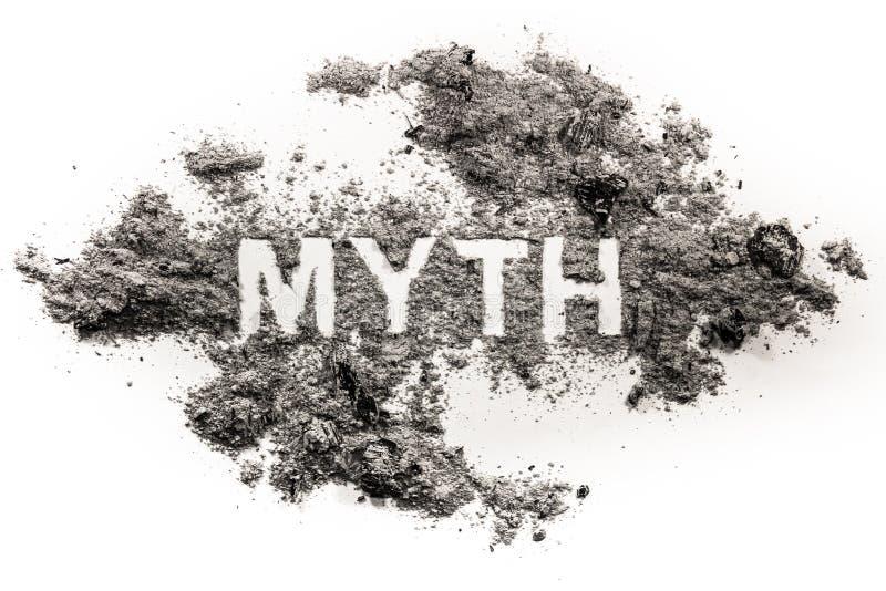 Palabra del mito escrita en ceniza o polvo imagen de archivo libre de regalías