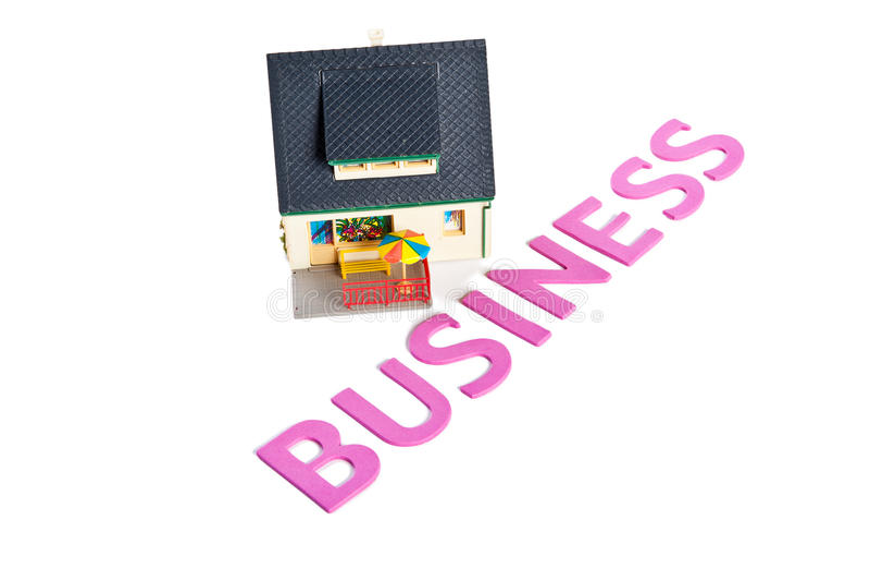 Palabra del negocio con la casa miniatura stock de ilustración