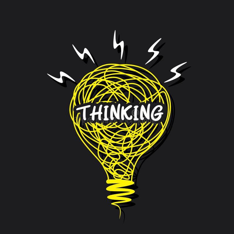 Palabra del pensamiento creativo en diseño del bulbo del bosquejo libre illustration