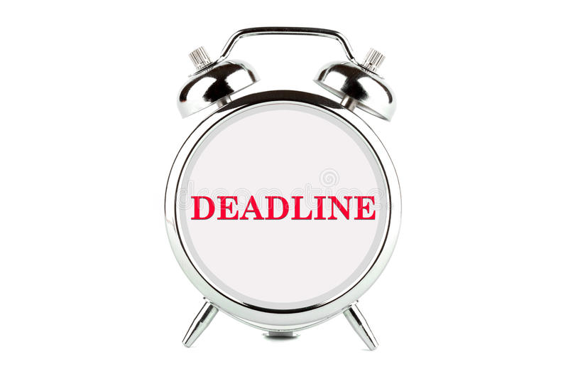 Palabra del plazo en el reloj de alarma fotos de archivo