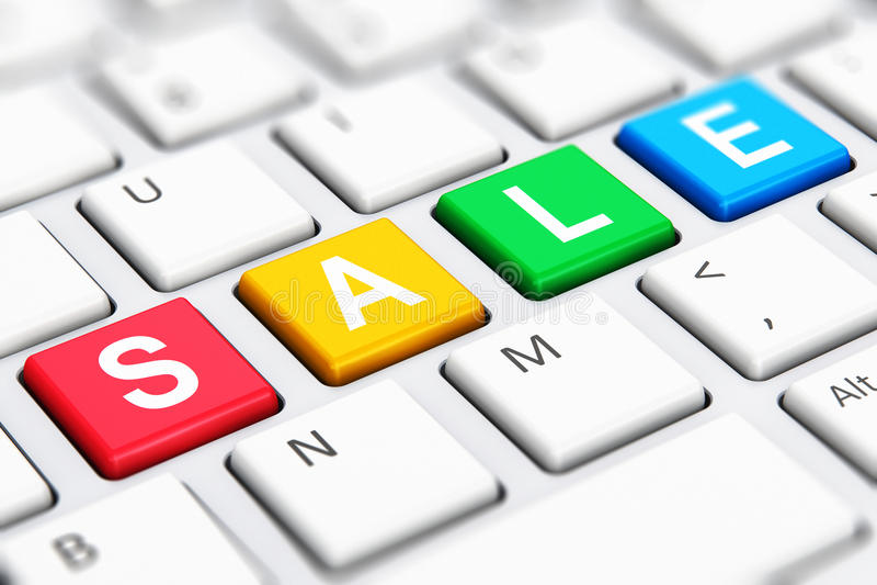 Palabra del texto de la venta en llaves de teclado de ordenador ilustración del vector