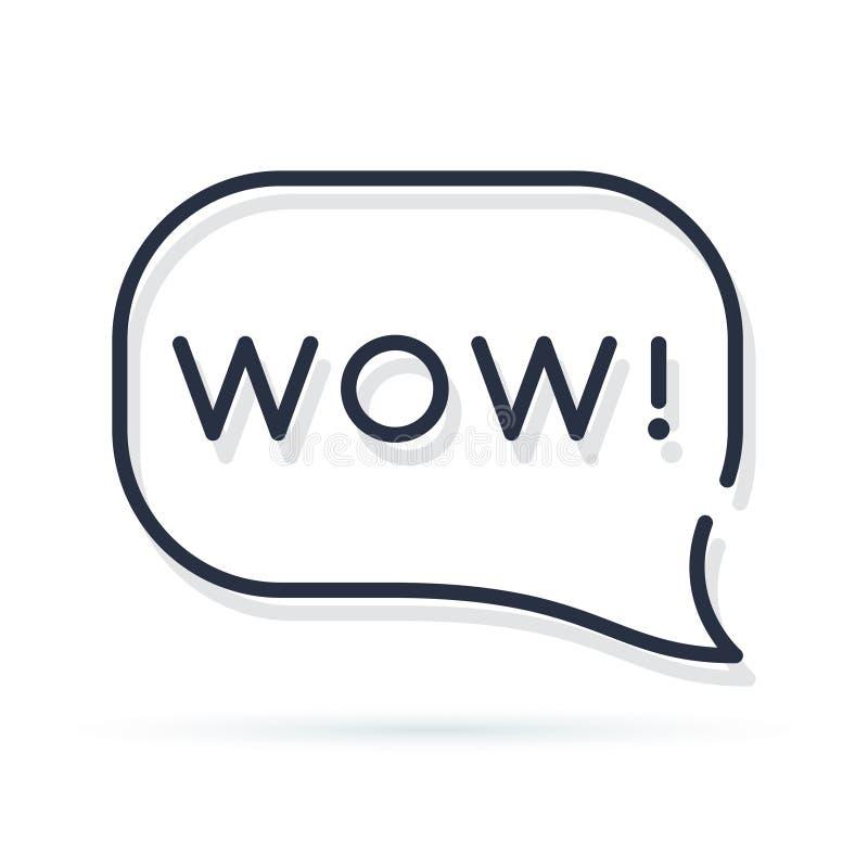 Palabra del wow en burbuja del discurso diseño mínimo de la etiqueta engomada del arte gráfico del estilo del logotipo moderno si libre illustration
