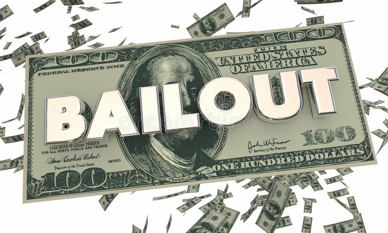 Palabra descendente del efectivo del dinero de la crisis financiera del desalojo urgente stock de ilustración