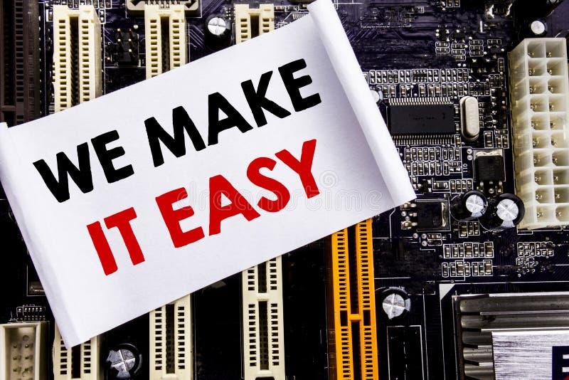Palabra, escribiendo la hacemos fácil Concepto del negocio para la solución de la calidad de la ayuda escrita en la nota pegajosa fotografía de archivo libre de regalías