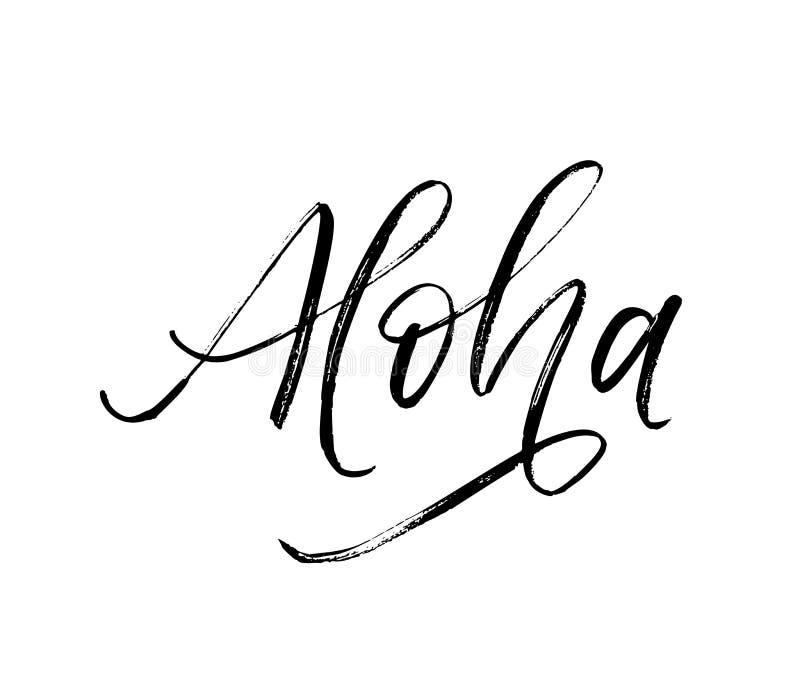 Palabra escrita de la hawaiana Caligraf?a moderna del estilo exhausto del cepillo de la mano del vector ilustración del vector