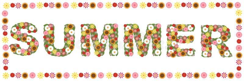 Palabra floral del verano stock de ilustración