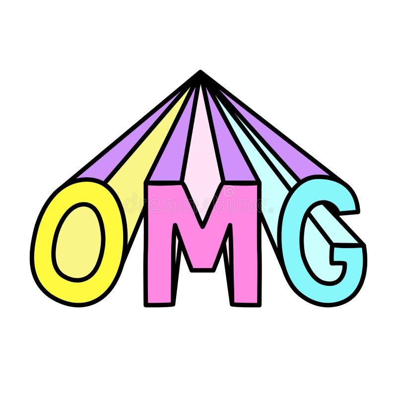 Palabra fresca aislada abreviatura de OMG libre illustration