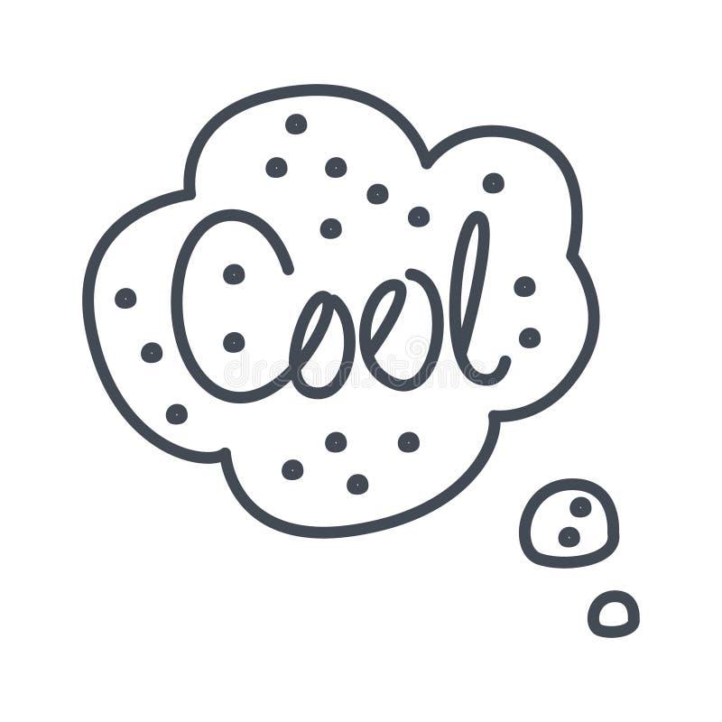Palabra fresca, plantilla cómica dibujada mano de la burbuja del discurso, objeto dibujado mano blanco y negro aislado de Clipart ilustración del vector