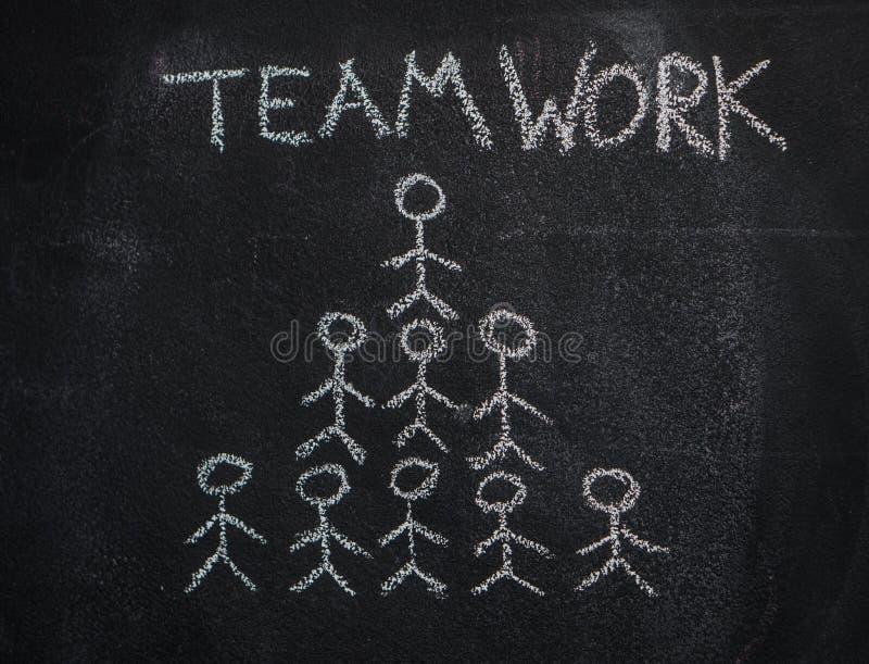 Palabra humana de la pirámide y del trabajo en equipo del equipo en la pizarra negra imágenes de archivo libres de regalías