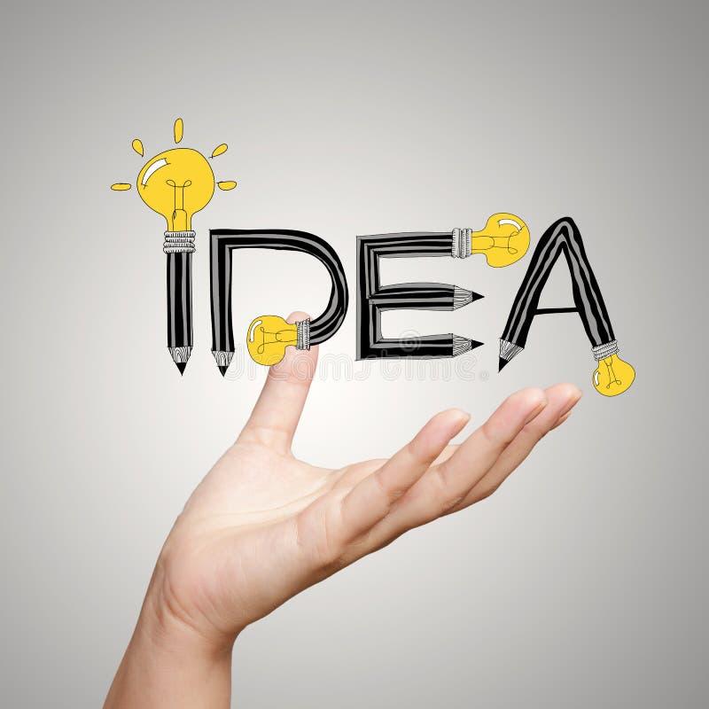Palabra IDEA del diseño de la demostración de la mano como concepto fotografía de archivo libre de regalías