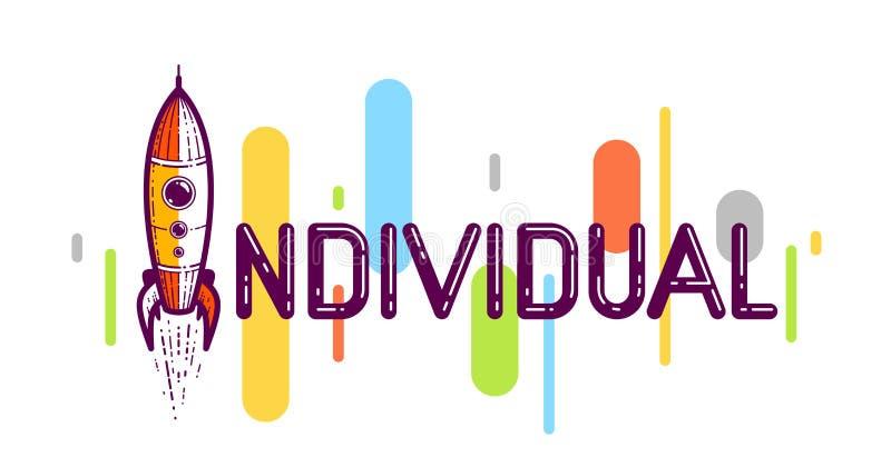 Palabra individual con cohete en lugar de letra I, concepto de individualidad y personalidad, logo conceptual creativo vectorial  libre illustration