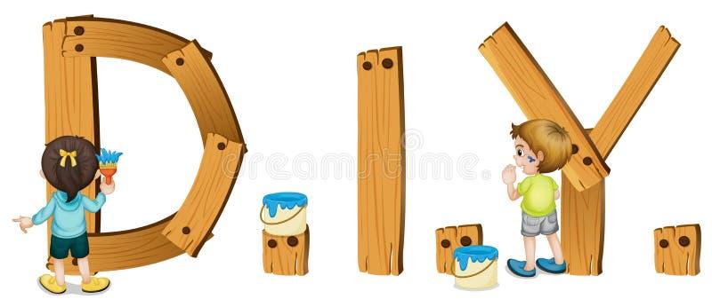 Palabra inglesa H3AGALO USTED MISMO. stock de ilustración