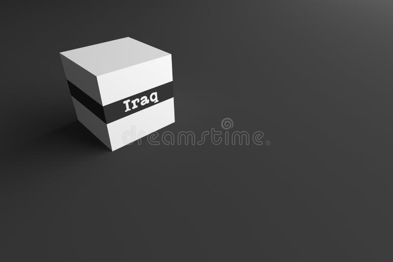 PALABRA Iraq de la REPRESENTACIÓN 3D ESCRITO EN EL CUBO BLANCO ilustración del vector