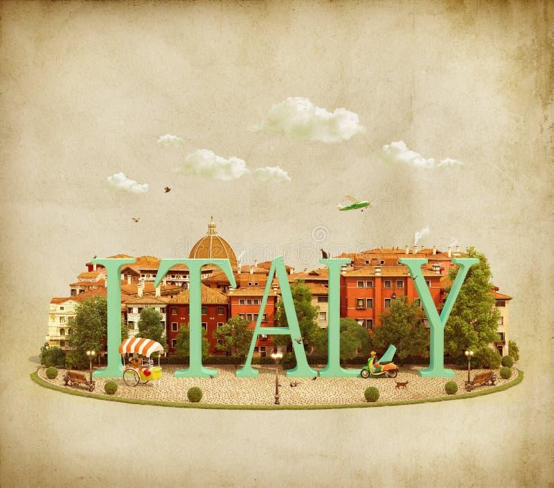 Palabra Italia en el cuadrado stock de ilustración