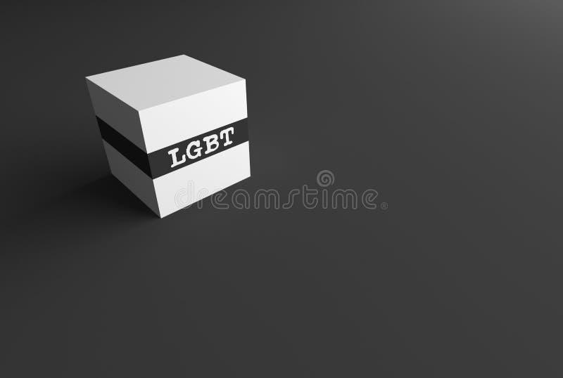 PALABRA LGBT de la REPRESENTACIÓN 3D ESCRITA EN el CUBO BLANCO stock de ilustración