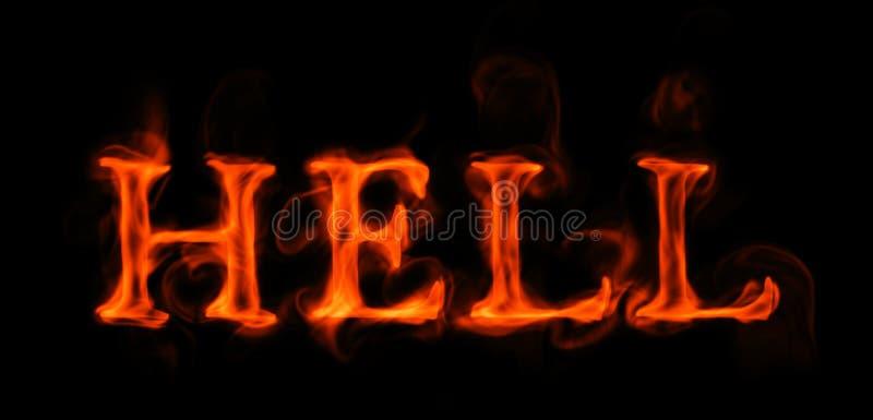 """Palabra llameante del †del infierno """"en negro ilustración del vector"""