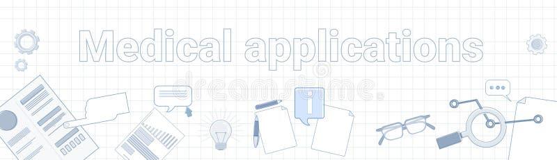 Palabra médica de los usos en concepto móvil ajustado del tratamiento de la atención sanitaria en línea horizontal de la bandera  ilustración del vector