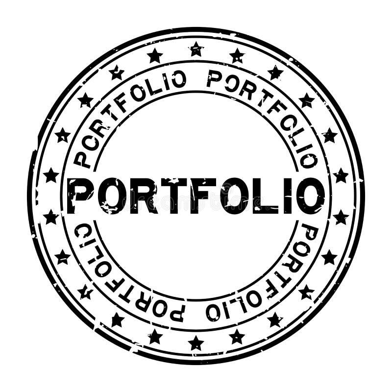 Palabra negra de la cartera del Grunge con el sello de goma redondo del icono de la estrella en el fondo blanco ilustración del vector