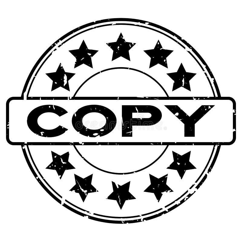 Palabra negra de la copia del Grunge con el sello de goma redondo del icono de la estrella en el fondo blanco ilustración del vector