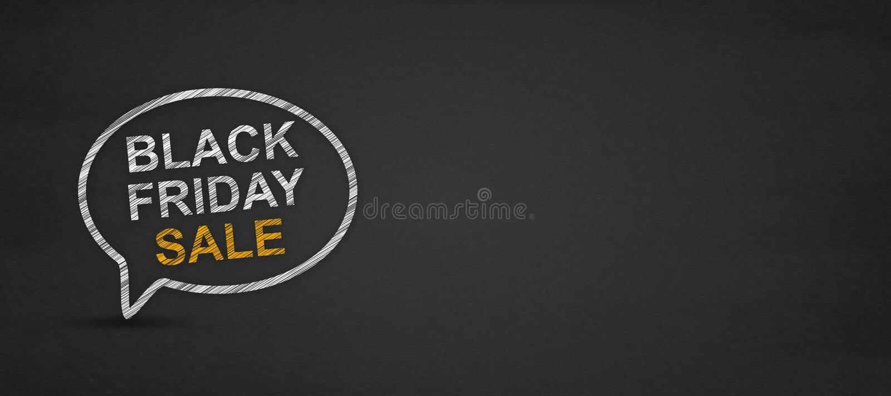 Palabra negra de la venta de viernes en burbuja del discurso en una pizarra stock de ilustración