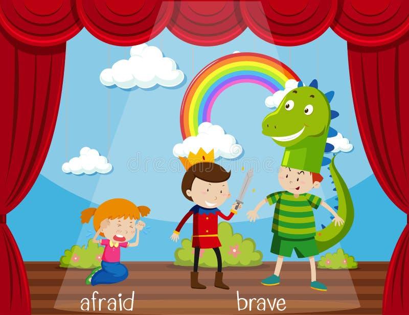 Palabra opuesta para asustado y valiente stock de ilustración