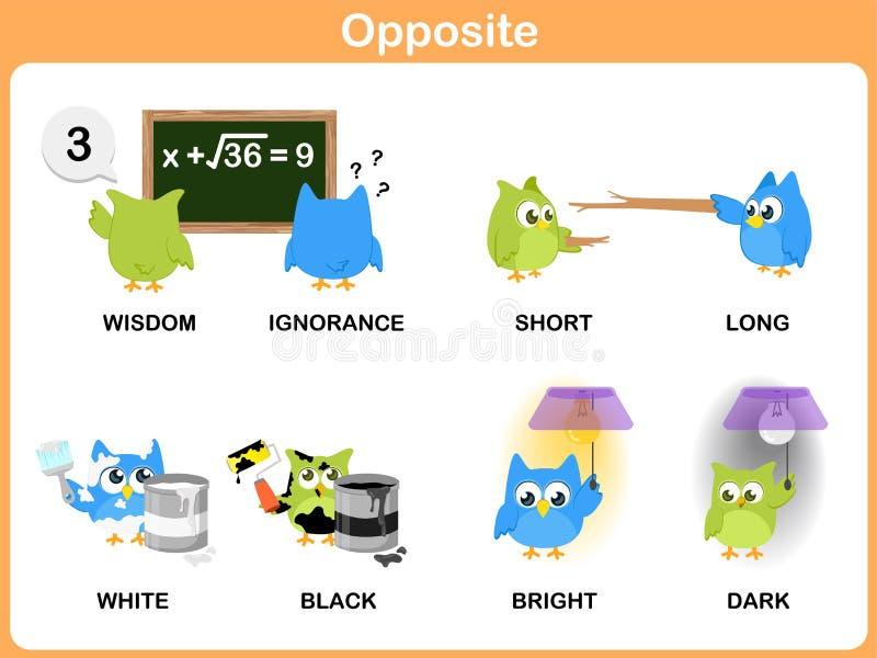 Palabra opuesta para el preescolar ilustración del vector